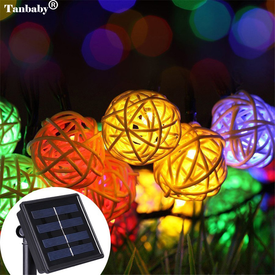 Tanbaby Solar Rattan Lantern Ball String Lights 5M 20 LED Rope Fairy Holiday Lighting boule solair lampion for Christmas