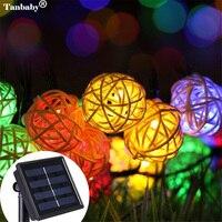 Tanbaby solar linterna ratán bola luces 5 M 20 LED hadas cuerda Iluminación para fiestas bola solair lampion para Navidad