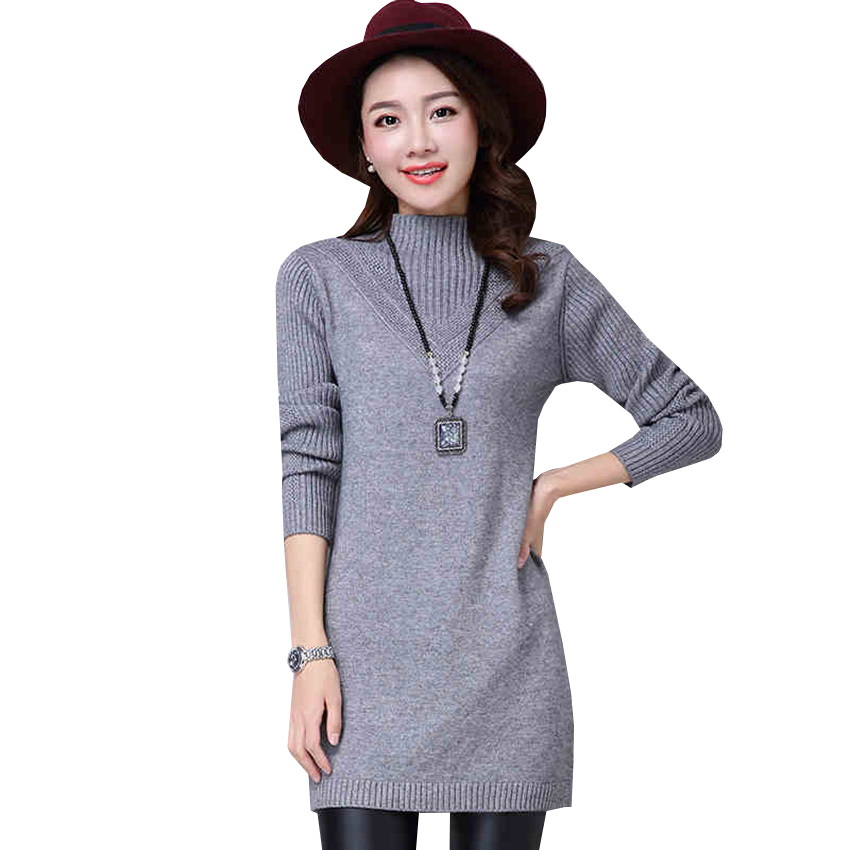 New Sweater Dress Autumn Winter Women Turtleneck Knitted Dress Slim Long Sleeve Bottom Pullovers Sweater Dresses Vestidos AB534 women turtleneck front pocket sweater dress