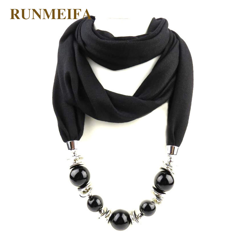 Fashion designer scarf Ethnic Chiffon Solid Collar Tassel Gorgeous beaded pendants jewelry Necklace Scarf Women Shawl