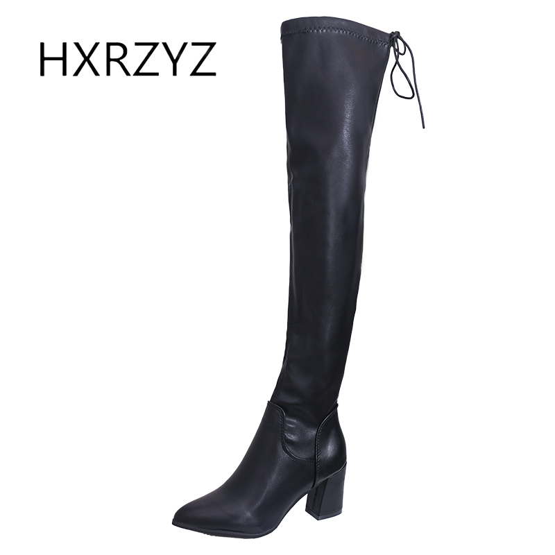 HXRZYZ women sexy long boots ladies over the knee boots autumn/winter new fashion high heeled pointed toe lace-up women shoes dijigirls new autumn winter women over the knee boots shoes woman fashion genuine leather patchwork long high boots 34 43