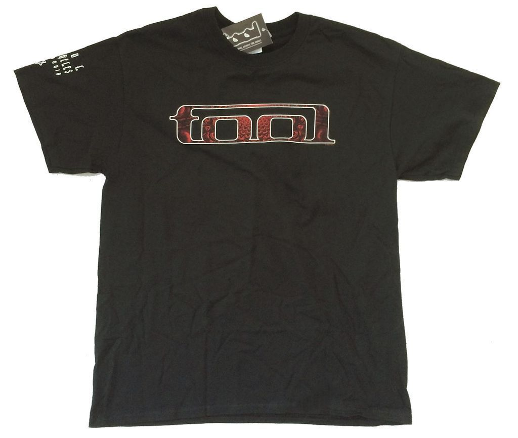 TOOL LA CA Sleeve Red Design Black   T     Shirt   New Official Band Merch 10000 Days 100% cotton tee   shirt  , tops wholesale tee
