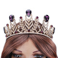 The new medium- violet feathers golden crown shape rhinestone crown  0717