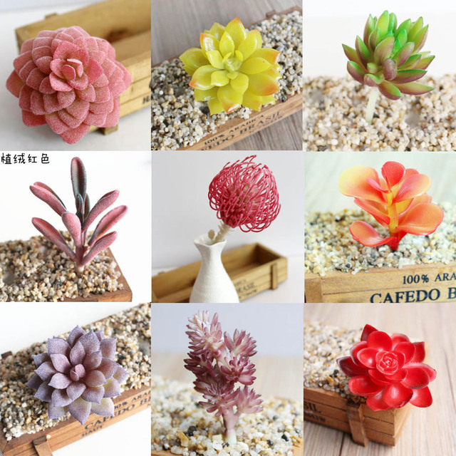 10pcs red series artificial plastic pvc succulents plant flower