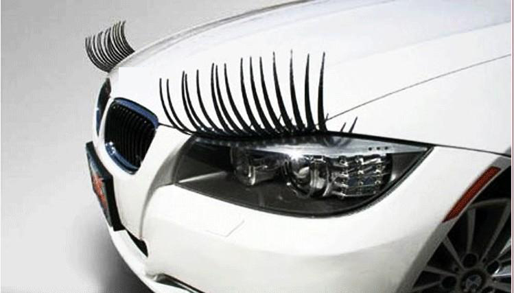 1 Pair Creative 3d Charming Black False Eyelashes Cute Fake Eye Lash Sticker Car Headlight Decoration Funny Decal For Beetle