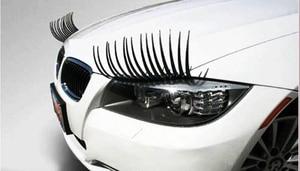 Image 4 - 1 Pair Creative 3D Charming Black False Eyelashes Cute Fake Eye Lash Sticker Car Headlight Decoration Funny Decal For Beetle