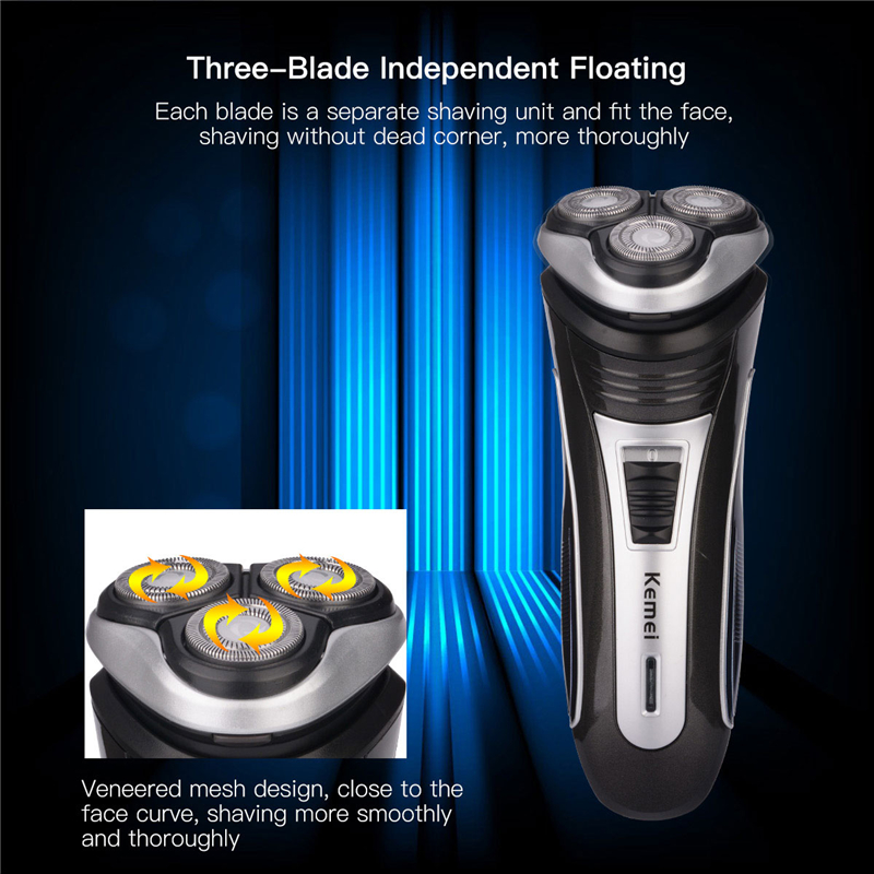 Kemei 3D Rechargeable Beard Trimmer Cutter Triple Floating Stainless Blade Electric Shaver Razor Hair Removal Men Face Care G47 kemei men s electric shaver cordless rechargeable reciprocating razor wet and dry use beard trimmer men s face care tool km 2016