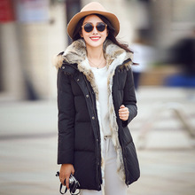 2016 plus size casual hooded long wool collar straight-padded warm coat long winter coats new cotton parkas