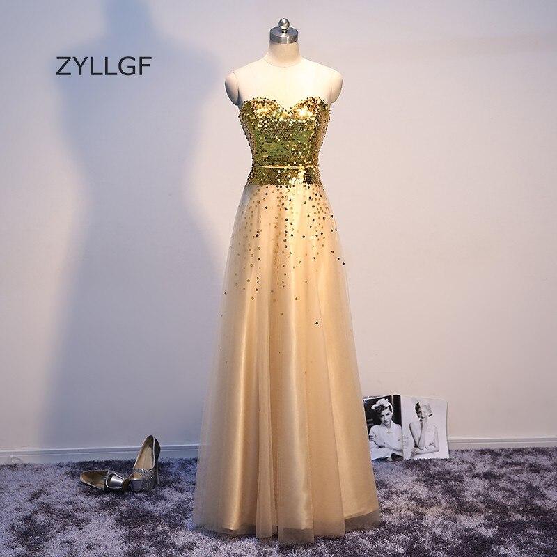 ZYLLGF or paillettes robes de bal une ligne chérie Long Tulle formelle robes de bal sur mesure robes pour bal 2017 Q62