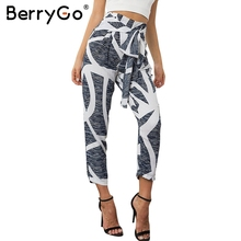 BerryGo Chiffon print bow tie harem pants Women summer casual high waist pants Female zipper pleated loose trousers bottoms new