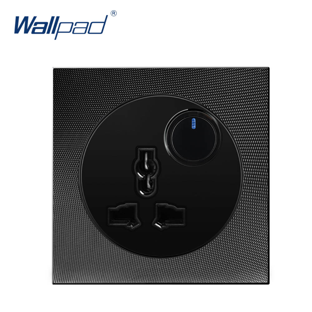 Wallpad 1 Gang MF Socket With LED Indicator Aluminum Metal Panel 3 Pin Multi Function SocketsWallpad 1 Gang MF Socket With LED Indicator Aluminum Metal Panel 3 Pin Multi Function Sockets