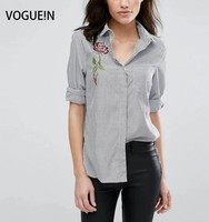 VOGUE N New Womens Ladies Striped Print Floral Embroidered Lapel Blouse Tops Shirt Size SML Wholesale