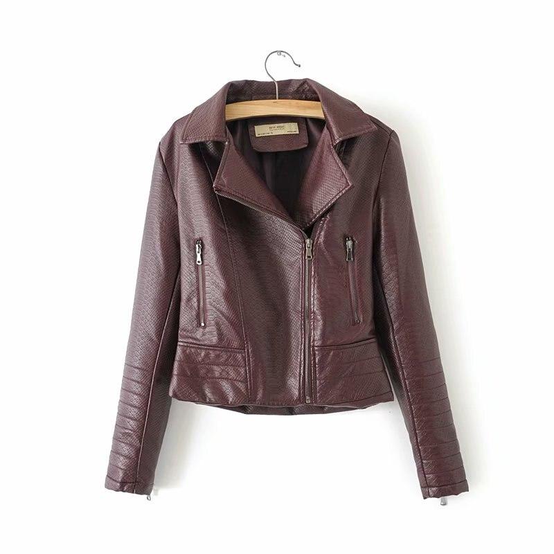 Hot New Fashion Women Wine Red Motorcycle Faux   Leather   Jackets Ladies Long Sleeve Autumn Winter Biker Streetwear Black Pink Coat