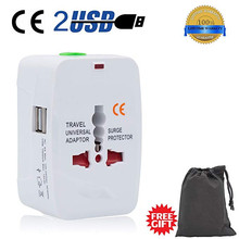 2 USB Travel Adapter International Universal Electric Plug Power Converter All In One Outlet Charger 220V UK USA EU AU