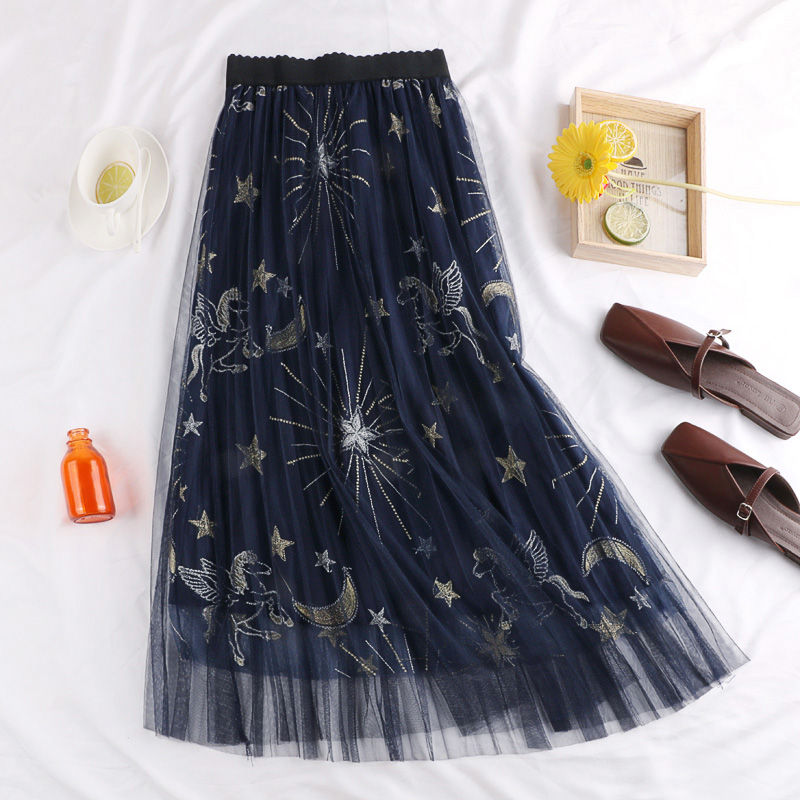 2018 New High Waist, Slender And Slender Star Embroidery Half-length Skirt Korean Edition Leisure Medium-length Skirt