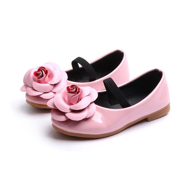 COZULMA Flower Girls Princess Shoes Kids Flat Non-slip Rubber Sole Shoes Size 21-36