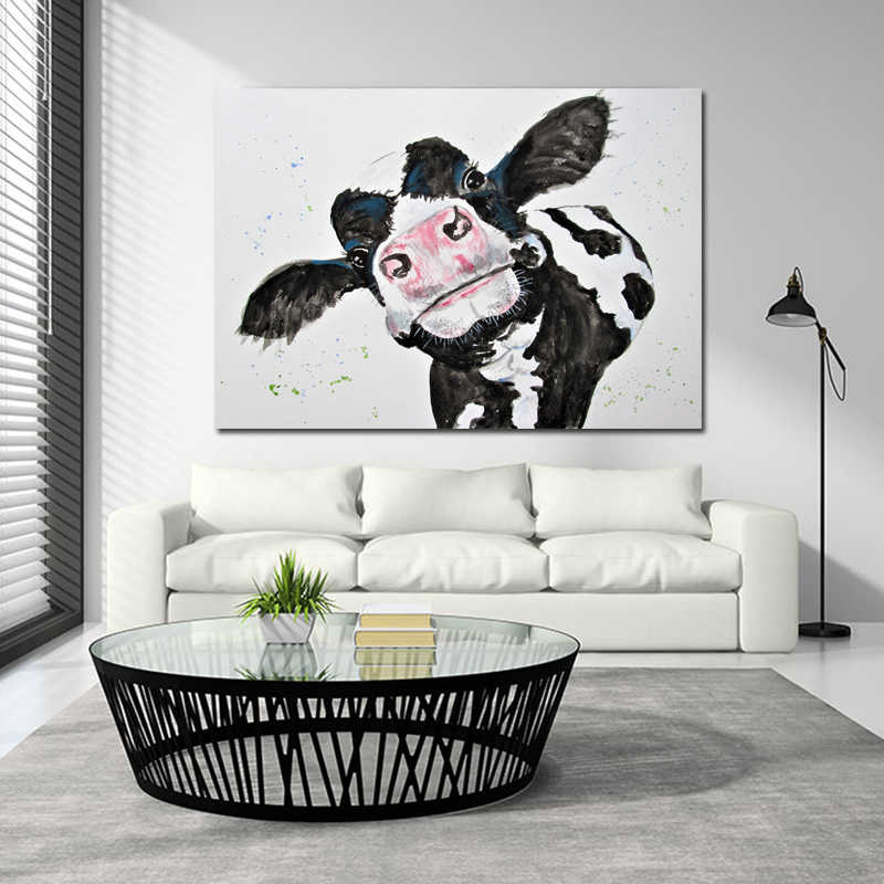 SELFLESSLY Watercolor Cow Canvas Painting Wall Art Prints Posters Modern Animal Art Wall Pictures for Living Room Unframed