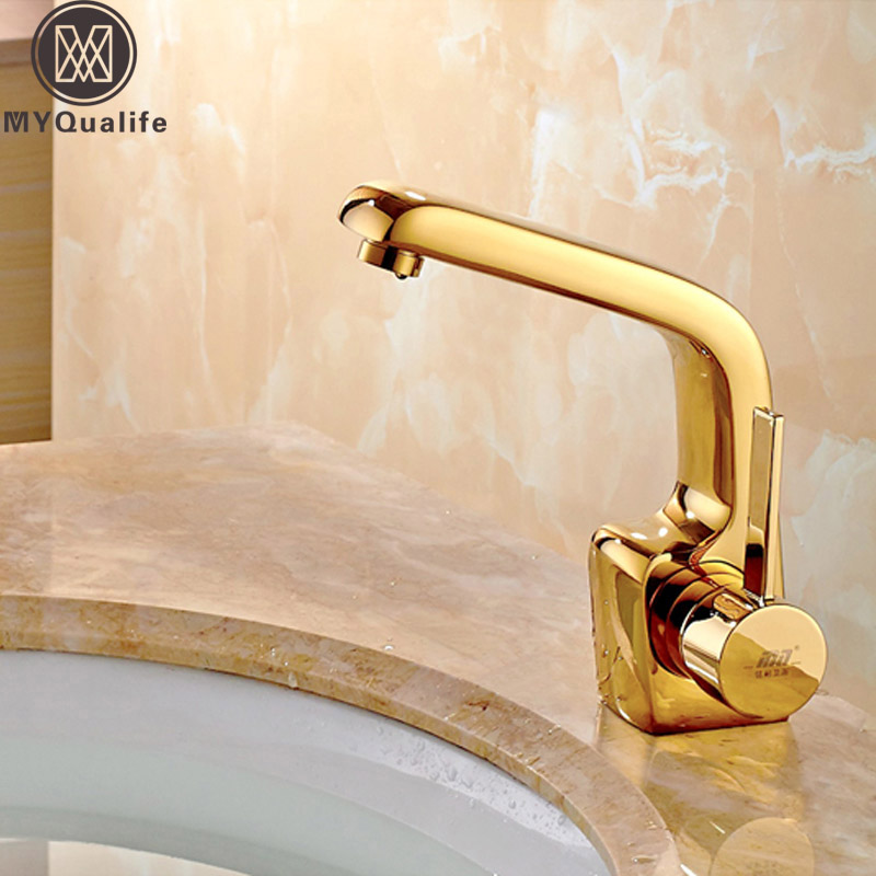 European style Brass Golden Basin Faucet Tap Deck Mounted One Handle Bathroom Lavatory Sink Basin Mixers with Hot and cold Water european style brass