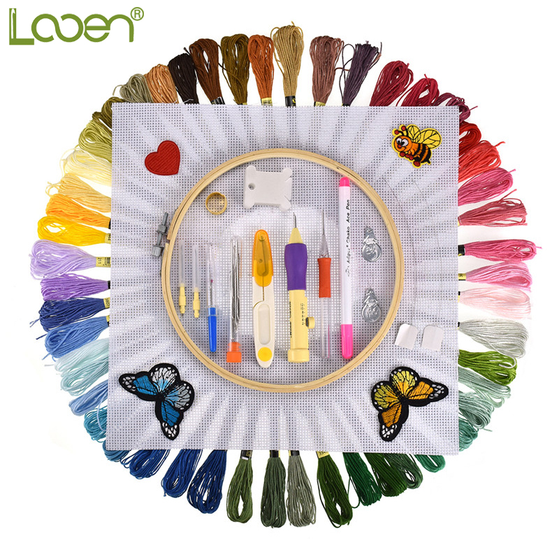 Looen 100pcs Magic Embroidery Punch Needles Pen Set 50pcs Threads Sewing Knitting Kit Embroidery Patterns with Case Sewing Tools