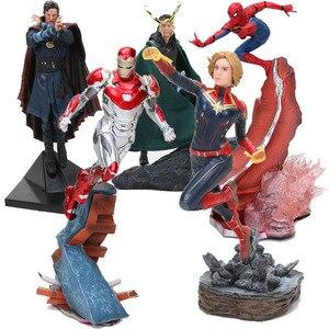 Avengers Captain Marvel 22-27cm Thanos ironman spiderman Danvers Statue KO's Iron Studios PVC Action Figures toy figure Toy gift(China)