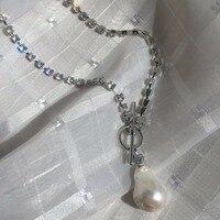 Full White Rhinestone Inlay Baroque Pearl Zircon Necklace Fashion Jewelery Colar Gargantilla Gift necklace For Love infinity