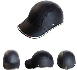 Image 3 - GRATIS SIZE PU Leer Motorfiets Open Half helmen Fiets Scooter Helm Vrouwelijke Moto Casco Baseball Cap gorras de beisbol