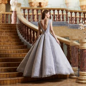 Image 3 - Finove イブニングドレス 2020 ロングスパークル材料セクシーな V ネックバックレスの夜会服フォーマルパーティー反射ドレスローブ · ド · 夜会
