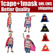 1cape+1mask cloak kids superhero capes boy children superman batman spiderman halloween baby costume cosplay super hero mask