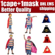 1 capa + 1 máscara de capa kids boy niños superman batman spiderman superhero capes bebé de halloween costume cosplay super hero máscara