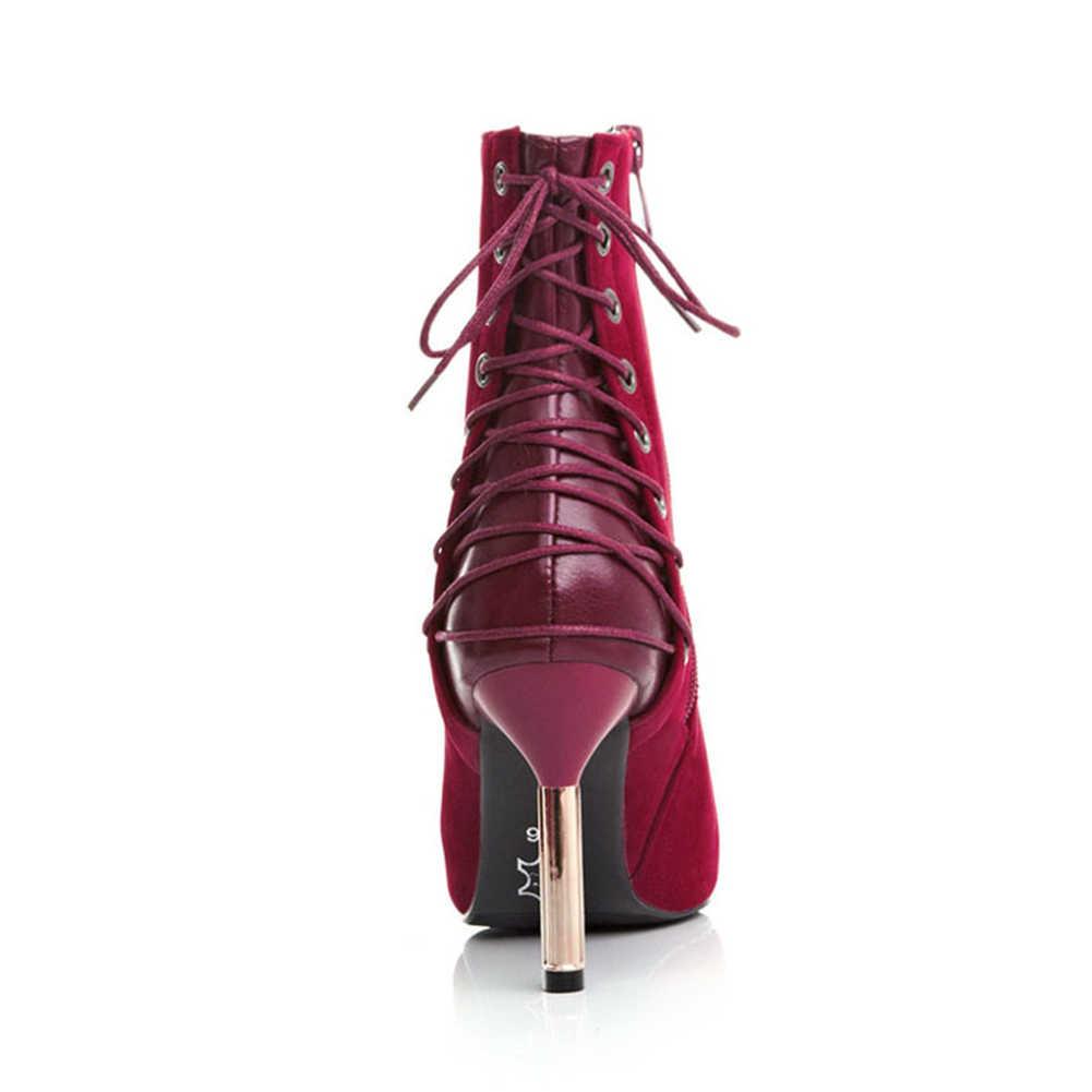 BONJOMARISA ใหม่ Elegant ผู้หญิงข้อเท้ารองเท้าขนาดใหญ่ 33-43 ชี้ Toe รองเท้าส้นสูง Lace Up Boots หญิงรองเท้าผู้หญิง
