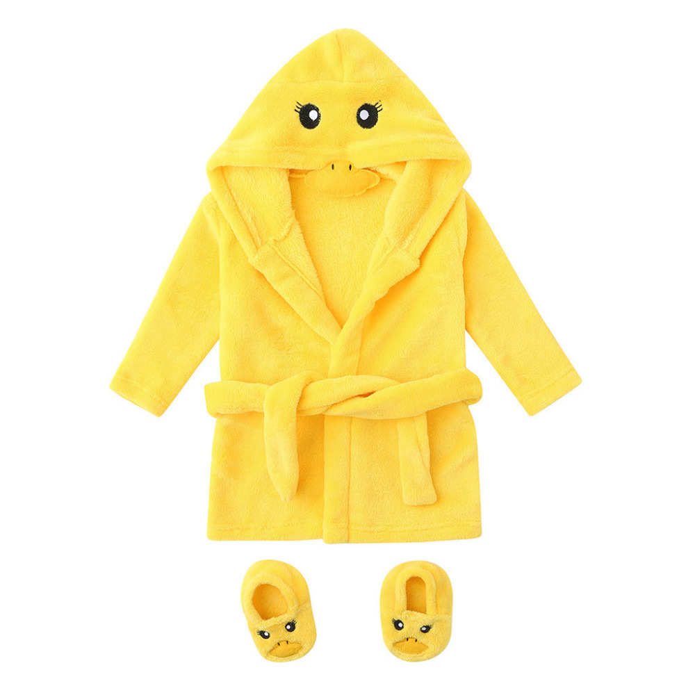 Winter Cute Warm Bathrobes Infant Boys Girls Cartoon Bear Rabbit Knee-Length Bath Robe Hoodie Robe Peignoir Albornoz Sleepwear