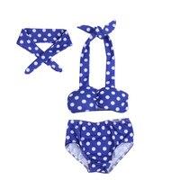 Children's swimsuit girls bikini swimwear 2017 3pcs/set fashion Polka Dot bikini baby girl children bikini swimsuit