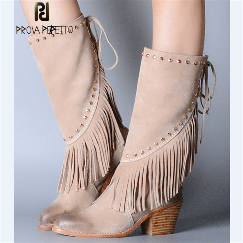 где купить Prova Perfetto Autumn Winter New Style Grace Real Leather Fringe High Heel Boots Warm Cow Suede Rivet Point Toe Women Mid Boots по лучшей цене