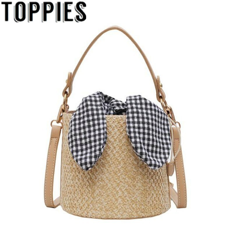 2019 Summer Korean Fashion Women Bow Knot Straw Bag Retro Vintage Beach Bag Street Style Straw Woven Bucket Bags