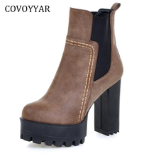 COVOYYAR 2019 Fashion Women Ankle Boots Autumn Winter Platform High Chunky Heel Woman Booties Shoes Sizes 34-43 WBS401