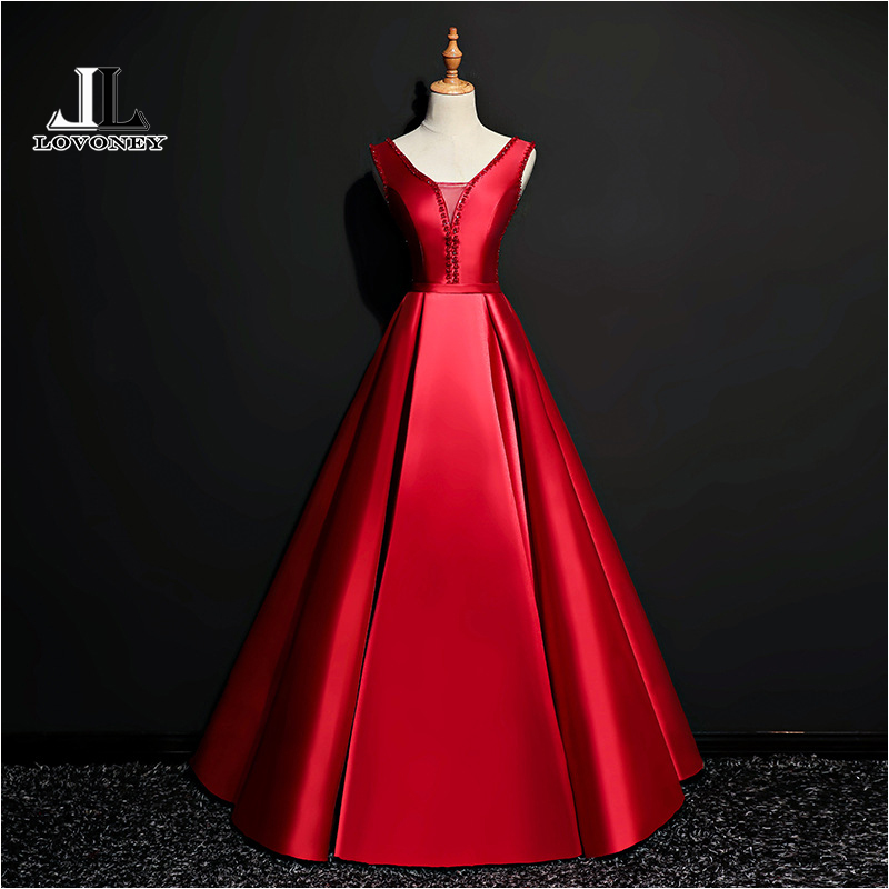 LOVONEY XYG831 A Line V Neck Satin Beaded Long   Prom     Dresses   2019 LaceUp Formal   Dress   Evening Party   Dresses     Prom   Gown Robe Soiree