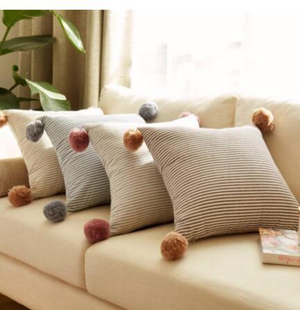 South Korea ball pillow cushion simple solid hair ball cute square cushion cover 40*40cm