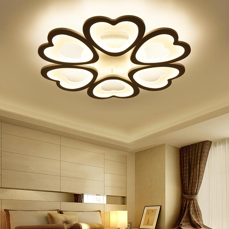 cheapest Discount 6 heads  New Design Acrylic Modern Led Ceiling Lights lampe plafond avize Indoor lighting 100-240V APP Remote control
