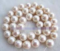 Jewelry 00514 Natural AAB 11 12mm Round White Fresh Water Pearl Beads 15 5.5