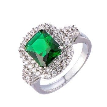 78cb833e8643 2017 anillos de moda para mujeres mujer Anel Grande Casamento de plata  anillo con piedras verdes joyas de cristal