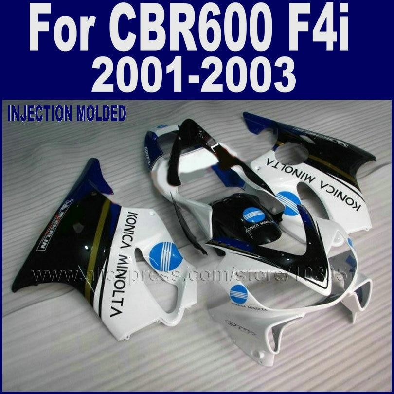 Motor Injection molding fairings kit for Honda 2001 2002 2003 CBR 600 F4i 01 02 03 cbr 600 f4i white Konica Minolta fairing body