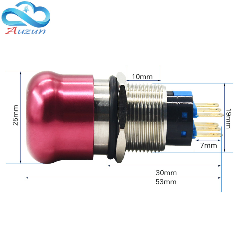 19 mm abrupt stop button switch 2 no2 nc waterproof button to stop rotating high quality stainless steel