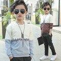 Новый мальчик одежда руно Толстовки Кофты весна мальчики с длинным рукавом круглый воротник топы подростковая детский соответствия цветов футболки