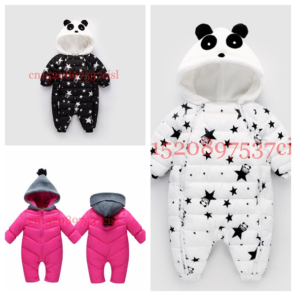 цена Russia Spring Panda Baby Rompers Overalls Bodysuit Winter Jumpsuit Newborn Girl Boy Duck Down Snowsuit Kids infant Snow Wear