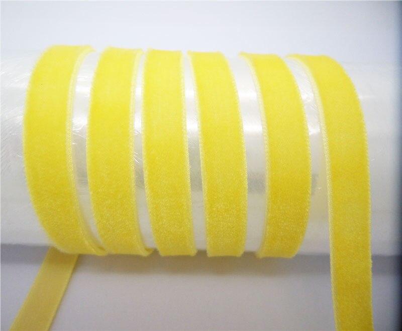 """DIY 5 ярдов 3/"""" 10 мм мягкая удобная бархатная лента много цветов на выбор - Цвет: Golden yellow"""