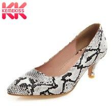 KemeKiss/Большие размеры 32-48, новые женские туфли на высоком каблуке, женские туфли-лодочки с острым носком, модные пикантные женские туфли с принтом