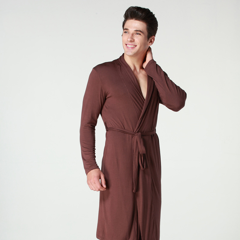 Long Sleeve Modal Cotton Sexy Bathrobes Men Long Cardigan Warm Robe Male  Home Clothing Sleepwear Spring Summer Autumn Winter-in Robes from Underwear  ... 0f90682fc