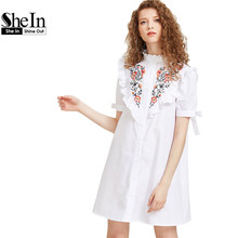 SheIn Ladies Summer Dress 2017 White Short Sleeve Cute A-Line Dress Frill Yoke Tie Sleeve Embroidered Shirt Dress