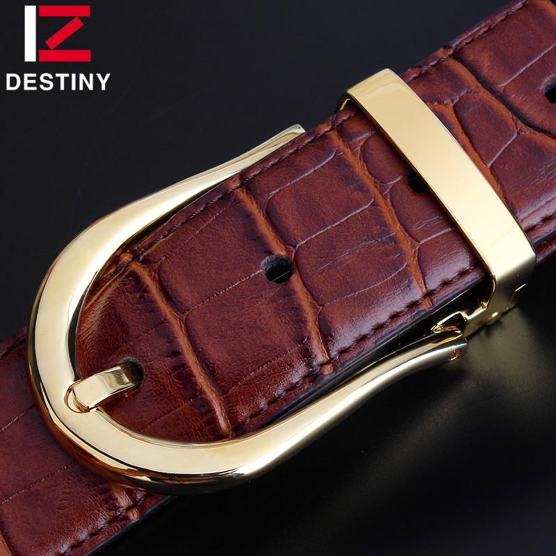 DESTINY Fashion Designer Bälten Män Hög kvalitet Äkta Läder Luxury Brand Silver Belt Gold Buckle Fancy Strap Man Ceinture