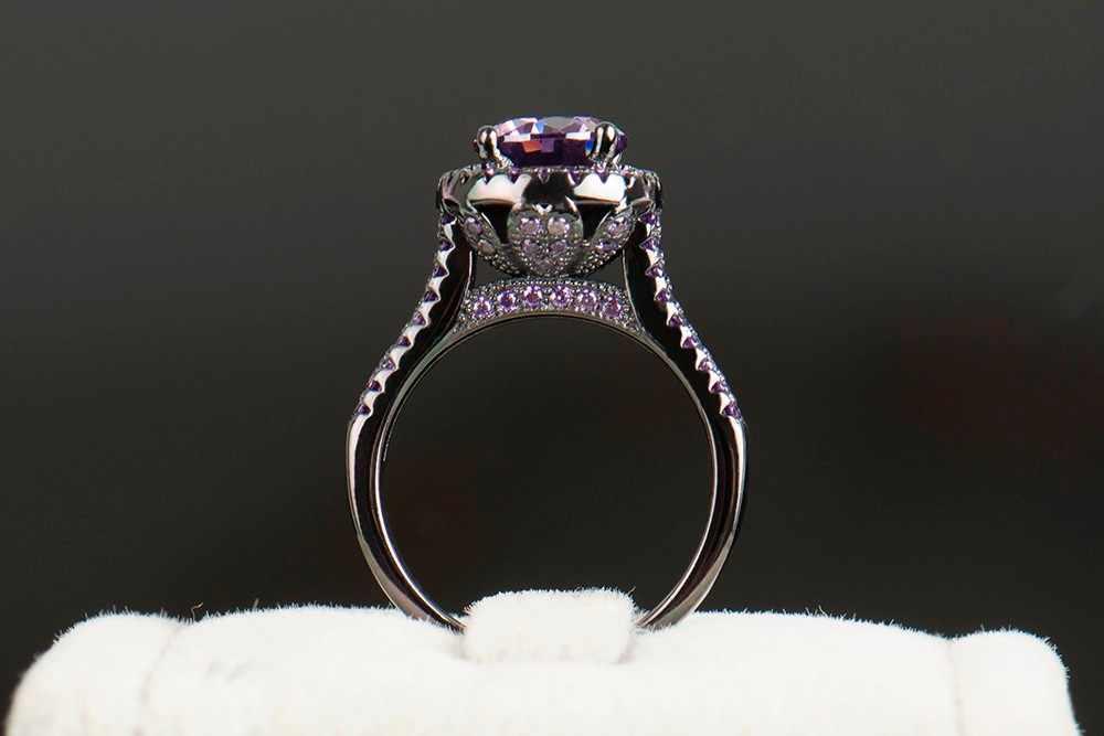 R & j 2016 moda feminina anel de cristal roxo 5a zircon jóias 10kt preto ouro cheio dedo anéis masculino marca casamento noivado